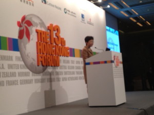 The speaker is Ms. Carrie Lam, Chief Secretary of HKSAR